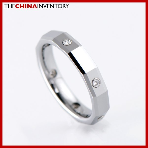 LADY 4MM SIZE 5.5 TUNGSTEN CARBIDE CZ BAND RING R1904