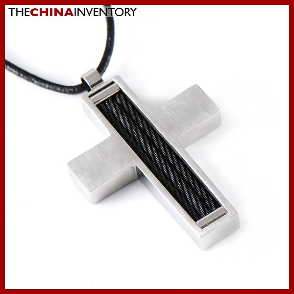 STAINLESS STEEL FILIGREE INLAY CROSS PENDANT P1107