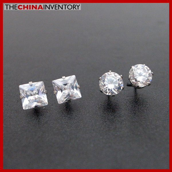 2 PAIRS STAINLESS STEEL CLEAR CZ STUD EARRINGS E4015E