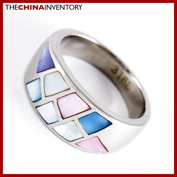 SIZE 7 STAINLESS STEEL MOSAIC STYLE BAND RING R0812