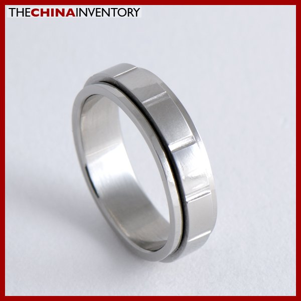 SIZE 8 STAINLESS STEEL LAYER WEDDING BAND RING R0710