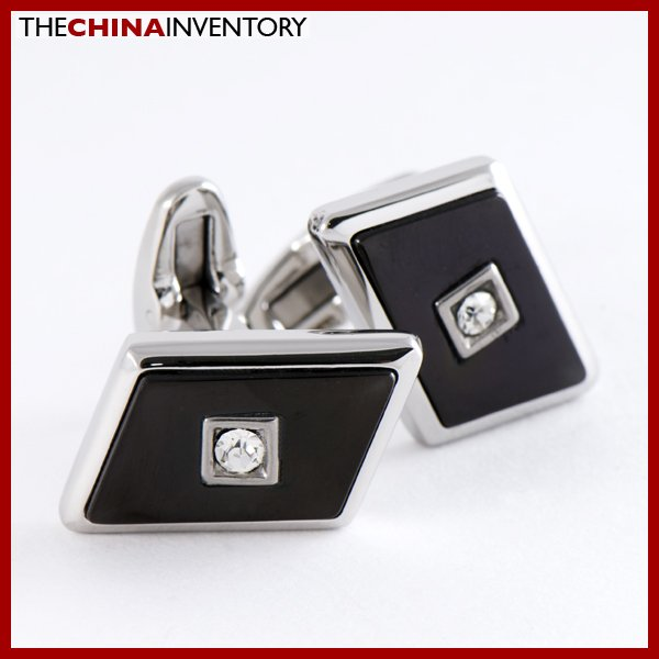 STAINLESS STEEL BLACK PARALLELOGRAM CUFFLINKS C0808