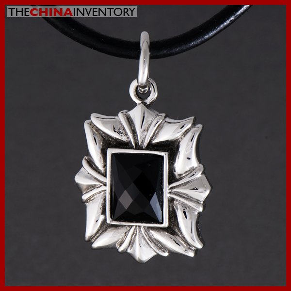 STAINLESS STEEL BLACK AGATE TAG PENDANT P0818