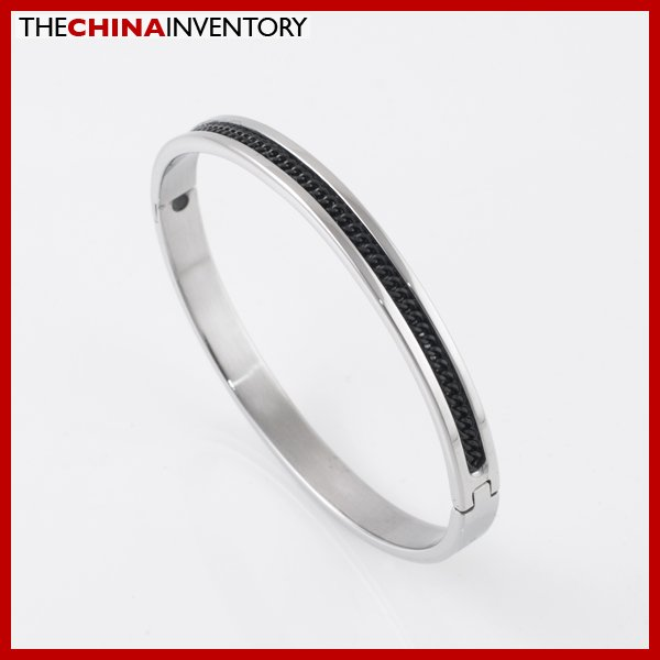 WOMEN 6MM STAINLESS STEEL BLACK CURB CUFF BANGLE B2105A