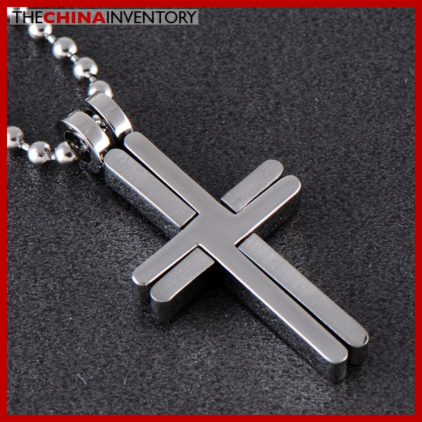 STAINLESS STEEL ENTWINED CROSS PENDANT NECKLACE P0329B