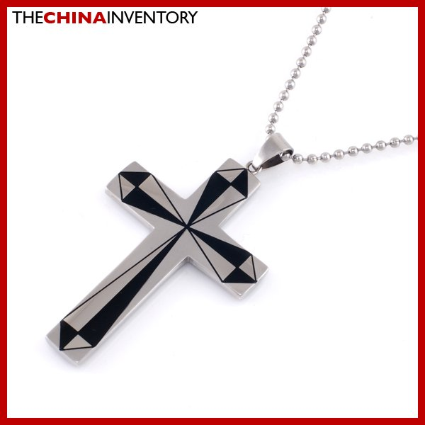STAINLESS STEEL CROSS BLACK SILVER PENDANT P2002
