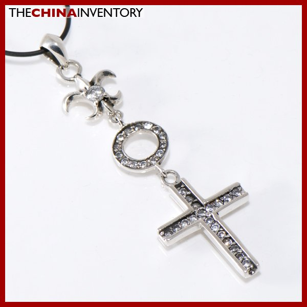 925 STERLING SILVER DANGLING CZ CROSS PENDANT SIL1227