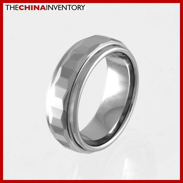 7MM SIZE 7.5 FACETED TUNGSTEN CARBIDE BAND RING R0918