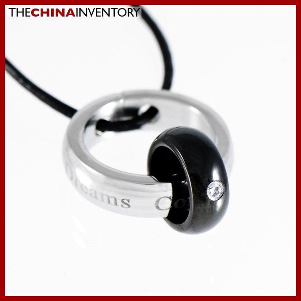 STAINLESS STEEL BLACK & WHITE RINGS PENDANT P1102