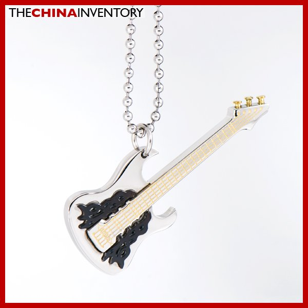 STAINLESS STEEL ELECTRIC GUITAR PENDANT NECKLACE P1703