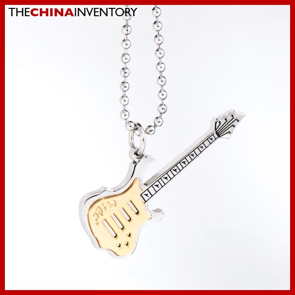 STAINLESS STEEL ELECTRIC GUITAR PENDANT NECKLACE P1705