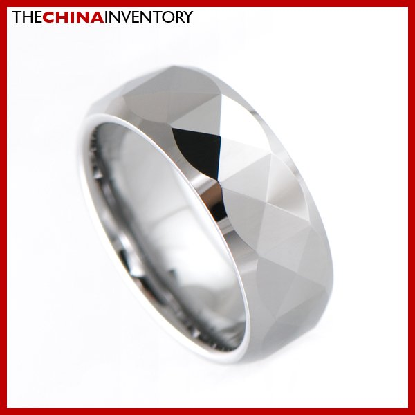 8MM SIZE 9 FACETED TUNGSTEN CARBIDE BAND RING R1906