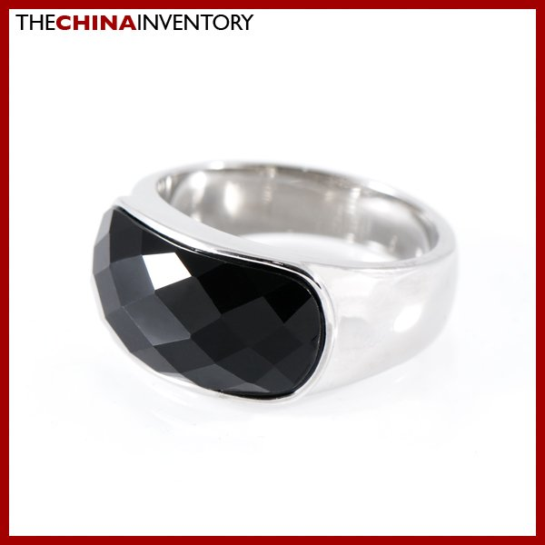 SIZE 8 STAINLESS STEEL BLACK AGATE BAND RING R0804B