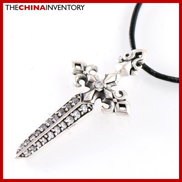 925 STERLING SILVER CZ DAGGER PENDANT NECKLACE SIL1009B
