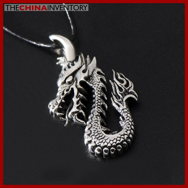 925 STERLING SILVER DRAGON PENDANT NECKLACE SIL1322