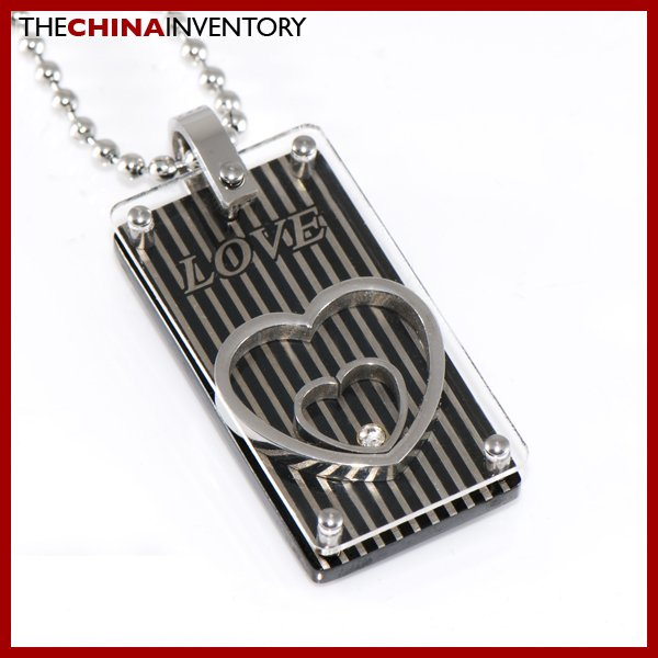 STAINLESS STEEL EMBRACING HEART TAG PENDANT P1313