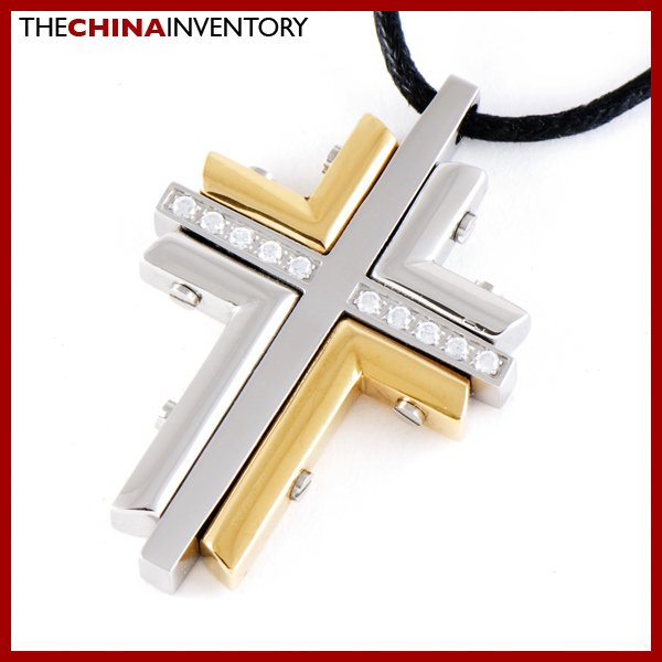 STAINLESS STEEL LAYERED TWO TONE CROSS PENDANT P0801