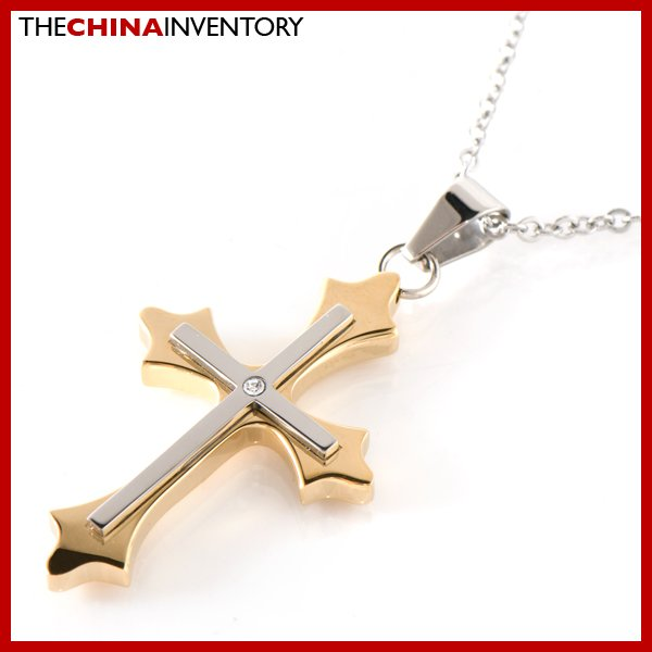 STAINLESS STEEL SILVER GOLD TONE CROSS PENDANT P1811
