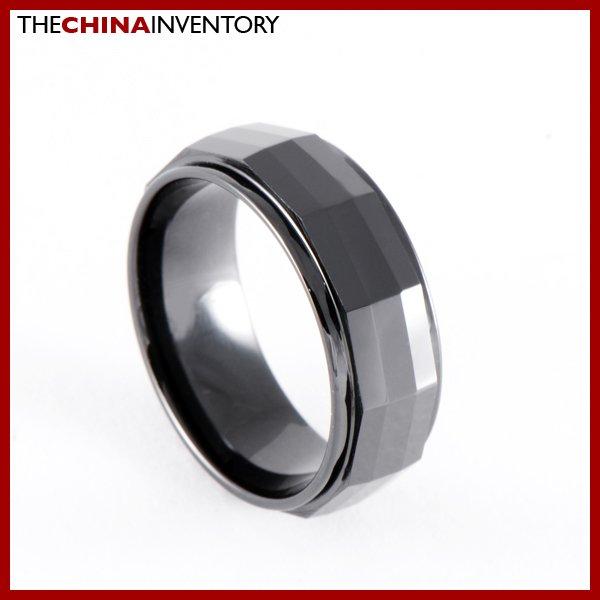 8MM SIZE 13 BLACK CERAMIC FACET WEDDING BAND RING R0903