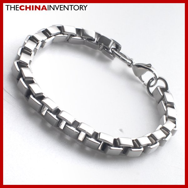 "8MM 8.5"""" STAINLESS STEEL THICK BOX CHAIN BRACELET B1816"