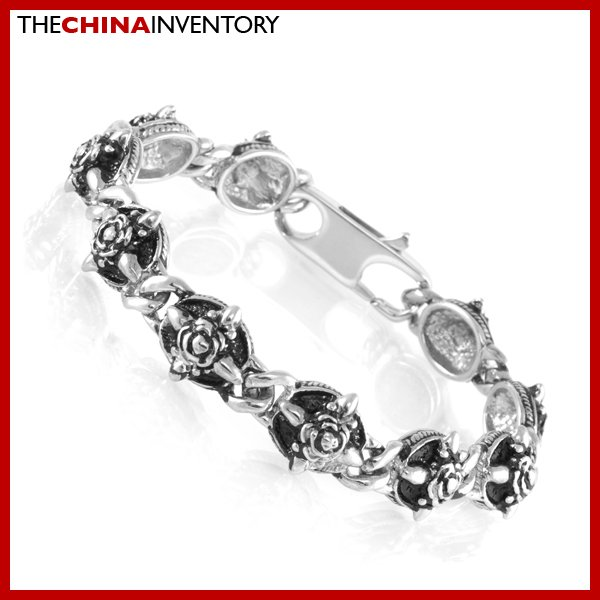 """8.5"""""""" STAINLESS STEEL ROSE TAG CHAIN BRACELET B1906"""