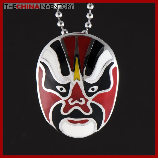 CHINESE OPERA FACE MASK STAINLESS STEEL PENDANT P0813