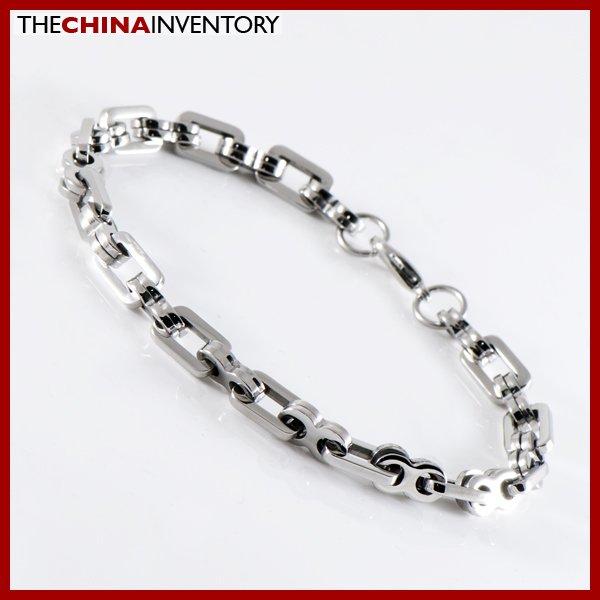 "9"""" STAINLESS STEEL DOUBLE RING LINK BRACELET B1222"