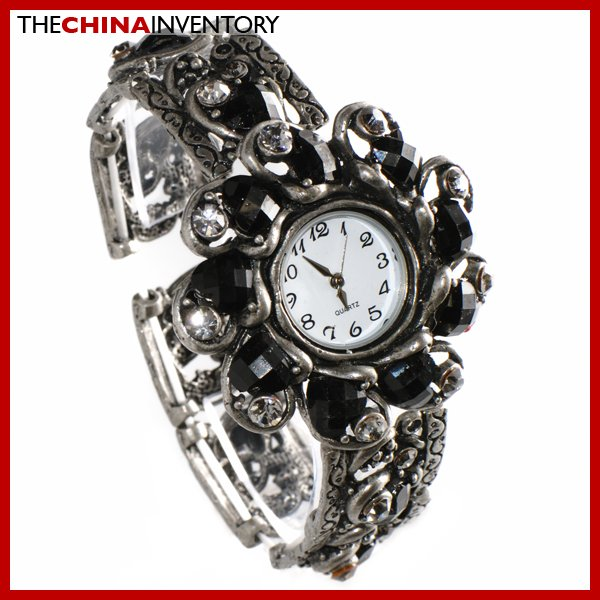 LADIES BLACK CRYSTAL FLOWER CUFF JEWELRY WATCH W0105