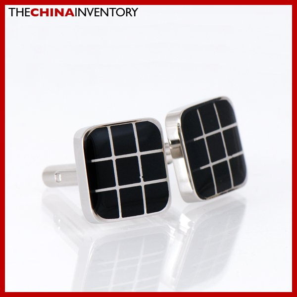 STAINLESS STEEL BLACK CHECKERS SQUARE CUFFLINKS C1706