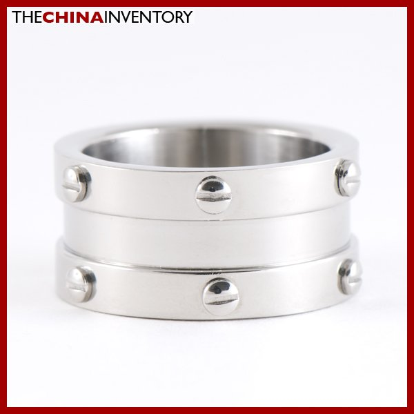 12MM SIZE 7.5 STAINLESS STEEL WIDE BAND RING R0709