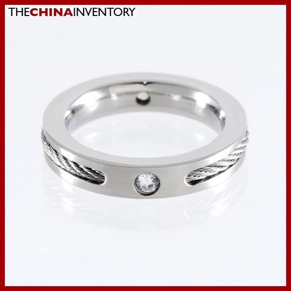 SIZE 8 WOMEN'S STAINLESS STEEL ROPE CZ BAND RING R1105B