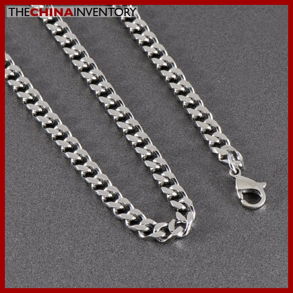 "MEN'S 22"""" STAINLESS STEEL CURB CHAIN NECKLACE N1015"