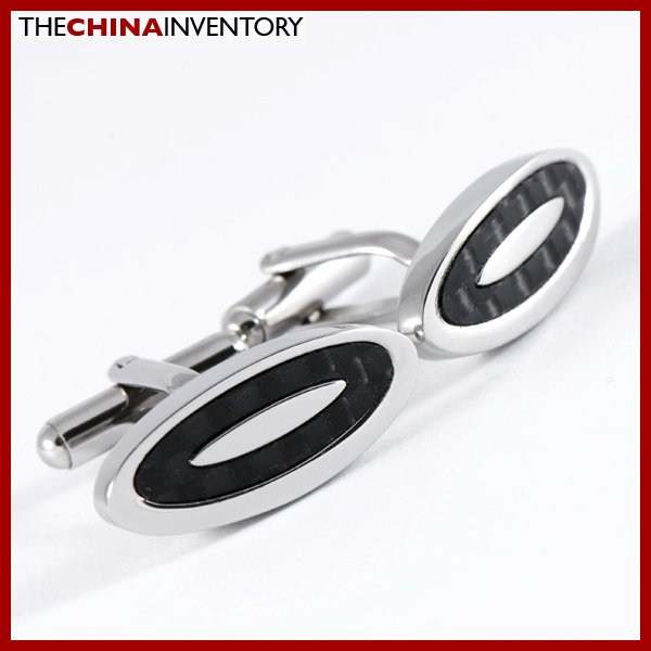 STAINLESS STEEL CARBON FIBER OVAL CUFFLINKS C0902