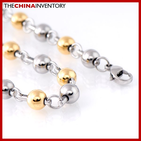 "22"""" STAINLESS STEEL TWO TONE BALL CHAIN NECKLACE N1809A"