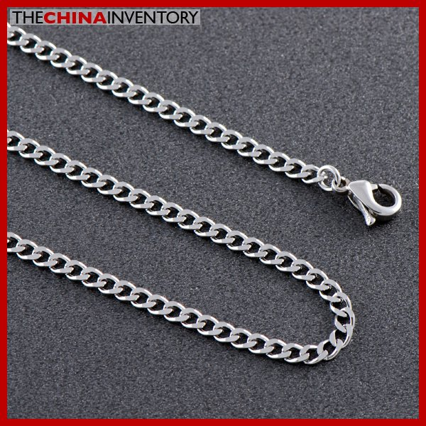 "3MM 24"""" STAINLESS STEEL CURB CUBAN CHAIN NECKLACE N0713"