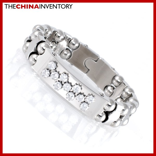 13MM STAINLESS STEEL CZ BLING TAG BRACELET B1730