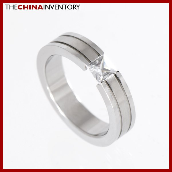 4MM SIZE 5 STAINLESS STEEL CZ BAND RING R1214