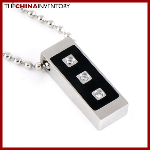 STAINLESS STEEL CZ TAG PENDANT NECKLACE P0601