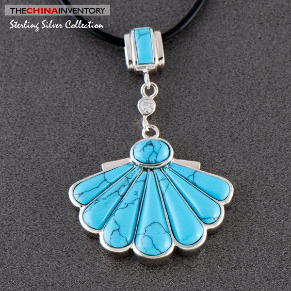 SHELL SHAPE TURQUOISE 925 SILVER PENDANT SIL0509