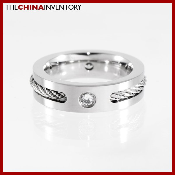 SIZE 8 STAINLESS STEEL ROPE CZ BAND RING R1105