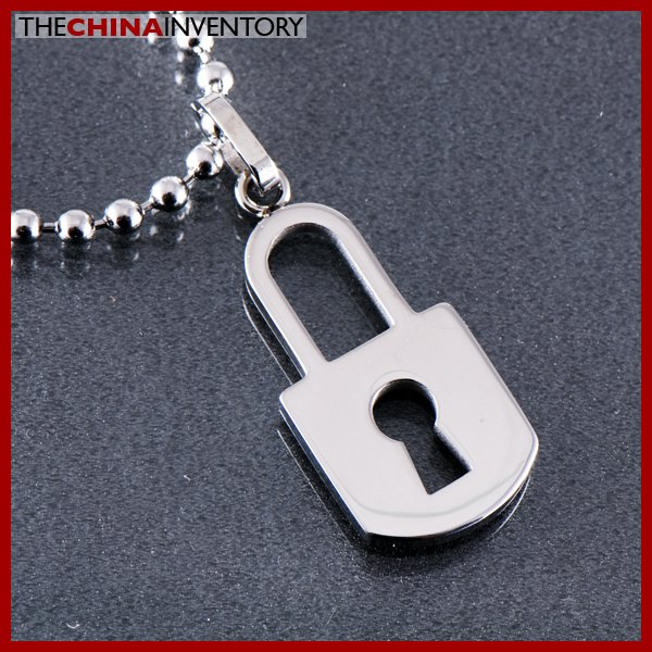 STAINLESS STEEL KEY LOCK PENDANT NECKLACE P0332