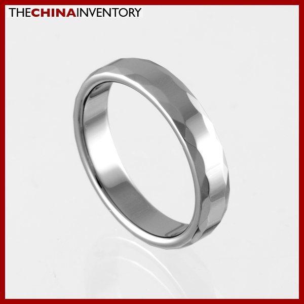 4MM SIZE 5 FACETED TUNGSTEN CARBIDE BAND RING R0916A