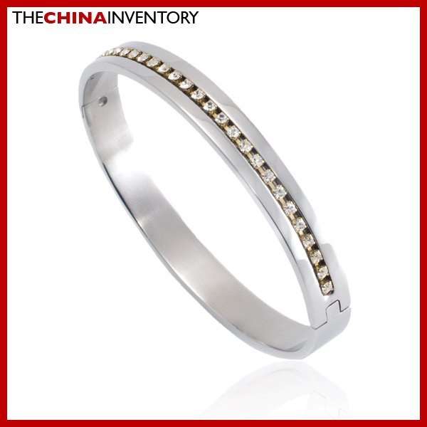 NEW STAINLESS STEEL CZ CUFF BANGLE BRACELET B2211