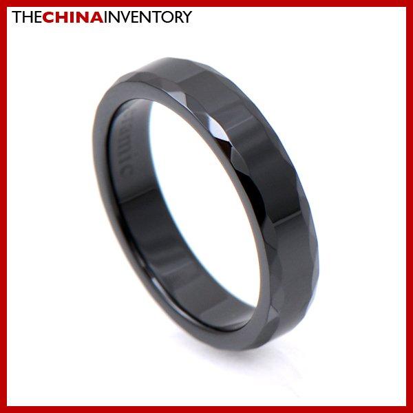 4MM SIZE 7 BLACK CERAMIC WEDDING BAND RING R1202B