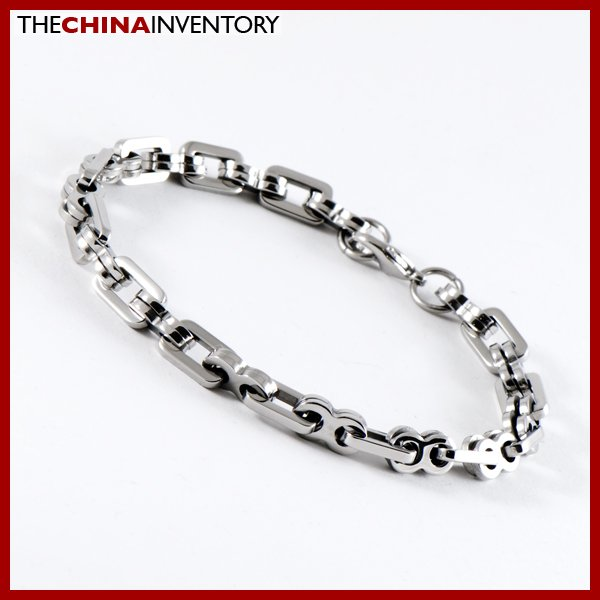 "8"""" STAINLESS STEEL DOUBLE RING LINK BRACELET B0916"