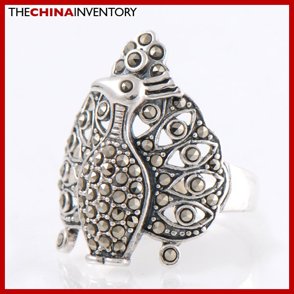 SIZE 8 925 SILVER MACARSITES PEACOCK RING SIL2206