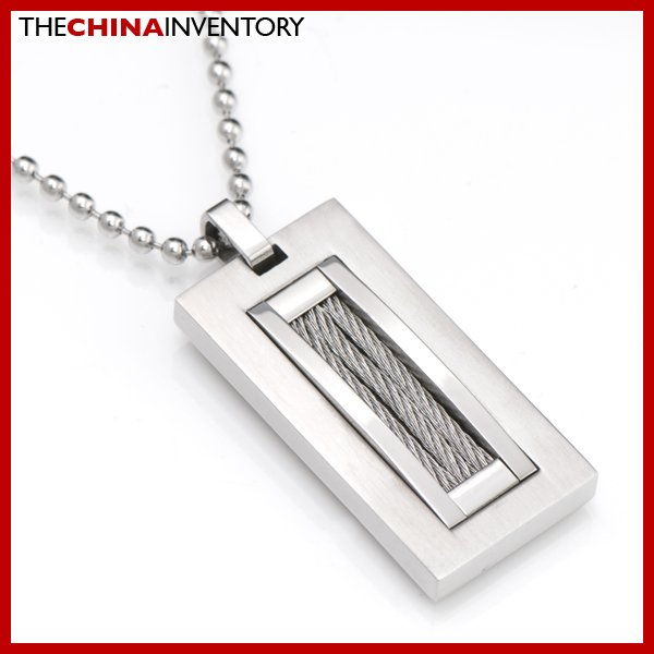 STAINLESS STEEL TAG PENDANT SILVER WIRE INLAY P2203A