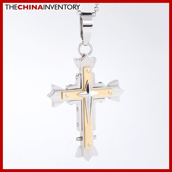 GUYS HEAVY STAINLESS STEEL DOUBLE CROSS PENDANT P1616