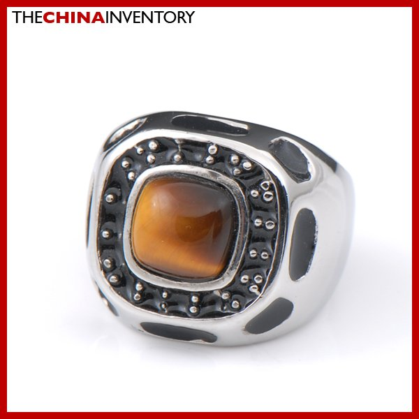 SIZE 7 STAINLESS STEEL TIGER'S EYE BAND RING R2204