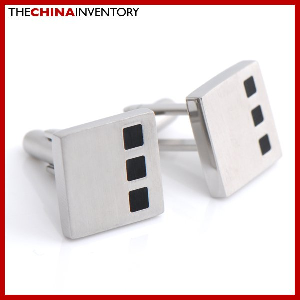 MEN'S STAINLESS STEEL RUBBER SQUARE CUFFLINKS C2408